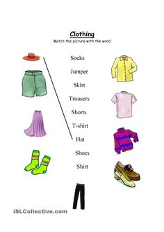 Clothing worksheet- Match and wordsearch