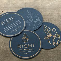 Luxury feel using gold foiled elements on deep blue coaster. Love the light linear style within the logo type and supporting illustration. #branding #design #designinspiration
