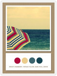 Colour Palette: bright cranberry, vintage yellow, dark pool, denim