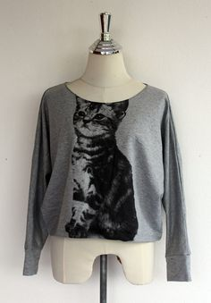 Cat Sweatshirt Kitty Sweater Women Gray Longsleeved by Tshirt99, $23.99