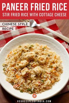 Paneer Fried Rice Recipe with step by step photos. Indian inspired recipe of a mildly spiced paneer fried rice with mixed veggies. instead of paneer you can also use tofu. Indo Chinese Recipes, Chinese Food, Indian Food Recipes, Ethnic Recipes, Paneer Recipes, Rice Recipes, Cooking Recipes, Vegetarian Lunch, Vegetarian Recipes