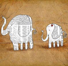 Elephant baby wall art White elephant art by OrangeOptimist, $45.00