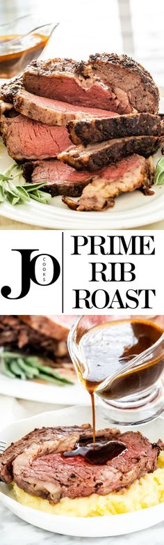 This Prime Rib Roast is cooked to a perfect medium rare, and smothered in a compound butter spiced with chili powder, cumin, fresh herbs, and garlic. This feast is fit for any holiday or special occasion. via Jo Cooks Rib Recipes, Cooking Recipes, What's Cooking, Sweets Recipes, Recipies, Prime Rib Recipe, Jo Cooks, Prime Rib Roast, Beef Dishes