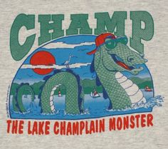 Vintage 1990s Lake Champlain Lake Monster Champ Vermont T-shirt. Very good pre-owned condition