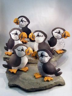 LOVE these--Raku Pottery Clay Puffin ceramic animal pottery by WildfirePotter