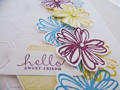 Beautiful card with Cascading Flowers using the Stampin Up Flower Shop Stamp set!