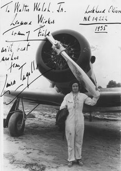 Laura H. Ingalls stands in front of her Lockheed Orion 9D, NR14222, in this personally inscribed photograph.