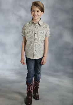 Roper® Girls Khaki Print Short Sleeve Snap Cowgirl Shirt
