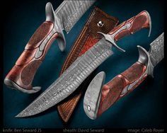 """Impulse"" by Ben Seward JS ""Mountain Fire"" damascus blade. Damascus fittings. Carved & checkered koa handle. Won Best Fighter at Art of Steel 2017 blade length: 12"" overall length: 17"" David Seward sheath.  website: bensewardknives.com  #calebroyerphotography #knife #knifemaking #knives #customknives #handmadeknives #knifecommunity #handmade #knifeart #knifepics #imagecalebroyer #steel #edge #sharp #cutlery"