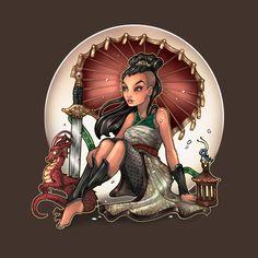 Disney Mulan Pin-up tatoo by Tim Shumate Disney Pin Up, Disney Love, Disney Art, Disney Princess Tattoo, Princess Art, Image Film, Dark Disney, Twisted Disney, Princesa Disney