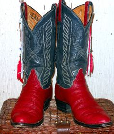 Vintage Hand Painted Red and Blue Tony Lama Cowboy by busstopshop, $125.00