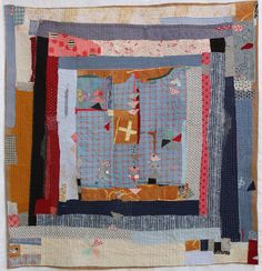 Galleries of textile artwork and art quilts by Helen Geglio. Embroidery Fabric, Fabric Art, Gees Bend Quilts, Primitive Quilts, Collage Art Mixed Media, String Quilts, Quilt Stitching, Hand Stitching, Origami Fashion