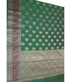 Green Handloom Banarasi Cotton Silk Saree