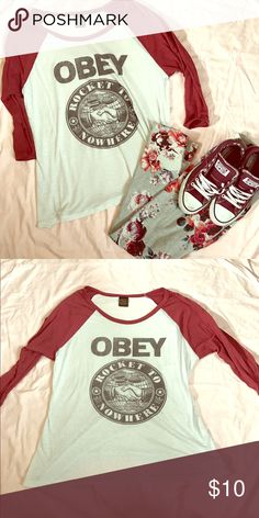 ❤️Obey 3/4 Sleeve Top❤️ BRAND-Obey COLOR-Red sleeves-White Top SIZE-L Obey Tops Tees - Long Sleeve