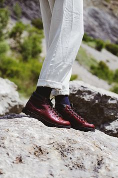 POKOJÍK / red leather boots by Flexiko, made in Czech Republic Red Leather Boots, Czech Republic, Boat Shoes, Oxford Shoes, Editorial, Traveling, Dress Shoes, Lace Up, Collection