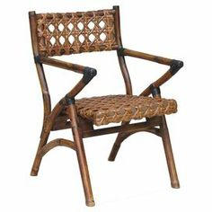 set of five scorched bamboo frame folding chairs with rattan seat