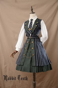 Fantastic Wind -The Tower of Ivory- College School Style Lolita JSK - steampunk Old Fashion Dresses, Fashion Outfits, Gothic Lolita Fashion, Fashion Trends, Fashion Women, Fashion Edgy, Fashion 2018, Victorian Fashion, Daily Fashion