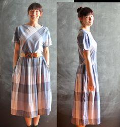 Vintage 80s Drop Waist Shirt Dress