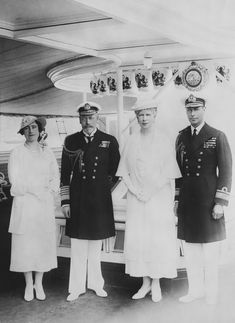 Photograph showing King George V (1865-1936) and Queen Mary (1867-1953), the Duke of York (1895-1952) and the Duchess of York (1900-2002) on board the Royal Yacht, Cowes, Isle of Wight