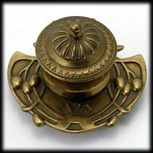 Art Nouveau Brass Inkwell Aesthetic Movement