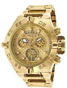 Invicta Men's Subaqua Chronograph Gold 18k Gold Watch: - watch male, black mens watches, black and gold watch mens *ad