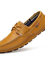 Masculino-Sapatos de Barco-Conforto-Rasteiro-Preto Azul Marrom Branco-Couro Pele-Casual