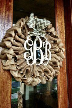 Custom Natural Burlap Interlocking Monogram Wreath With Burlap Chevron Or Polkadot Bow on Etsy, $85.00