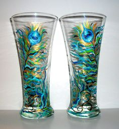 Painted  Beer Glasses Peacock Feathers Hand Painted Set of   2 / 20 oz.. $45.00, via Etsy.