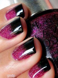 Cute purple glitter nails