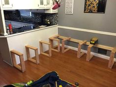This DIY Dining Booth Will Make Your Kitchen Table Seem So Boring - Since There Wasn't Much Support Against The Wall He Added Square Supports Booth Seating In Kitchen, Dining Booth, Kitchen Booths, Dining Room Bench Seating, Kitchen Corner Booth, Square Dining Room Table, Corner Bench Seating, Dining Chairs, Nook Table