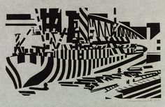 Camouflaged Ship in Drydock, 1918, Edward Wadsworth, woodcut, England