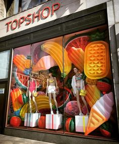 "TOPSHOP, Oxford Street, London, UK, ""Summer's is here, so let the good times rip, roll, tumble and splash!"", photo by Oliver Vilcans, pinned by Ton van der Veer"