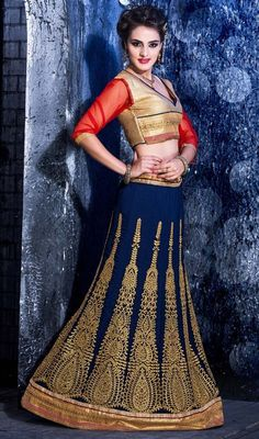 Appear stunningly charming in this royal blue embroidered faux georgette choli skirt. The butta, lace, resham and stones work appears to be like chic and aspiration for any occasion. Upon request we can make round front/back neck and short 6 inches sleeves regular lehenga blouse also. #CreativEmbroideredDesignOfLehangaCholi