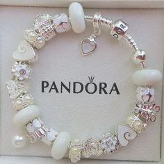 Authentic Pandora Sterling Silver 925 ALE Bracelet with European Beads and Charms Winter White F1 on Etsy, $99.00