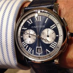 Handsome @cartier Rotonde Chronograph #sihh2015 #luxurywatch #cartier See more at www.thejewelleryeditor.com