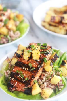 Asian Grilled Salmon Pineapple and Rice Lettuce Wraps-8