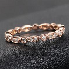 Art Deco Ring, Art Deco Antique Style - .32ct Diamond Ring Milgrain in 14K Rose Gold /Yellow Gold/White Gold Wedding Band Anniversary Ring