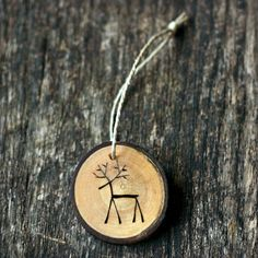 Reindeer Christmas Ornament - Tree Branch Wood Slice - Rustic and Eco Friendly