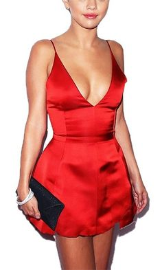6e9bed6e9918 Sexy Devil Red Spaghetti Strap Plunge V Neck Skater Circle A Line Flare  Mini Dress 21st
