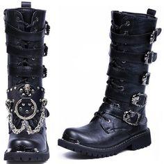 Men Black Military Punk Biker High Boots w/ Studded Skull Chain Strap SKU-1280897