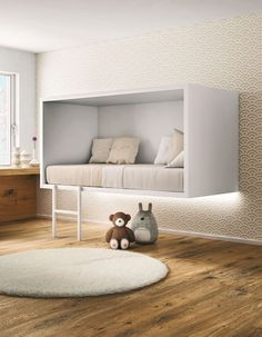 Cloud Bed by Lago  Children's rooms always need to be a place where kids can hide away from the world. The Cloud Bed  by Lago is a susp...