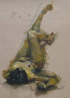 Alan McGowan, nude reclining. ink and watercolor