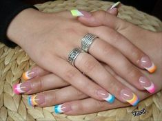 Classic French nails with color cute for Easter or something? - Classic French nails with color cute for Easter or something? French Nails, French Manicure Nails, Gel Nails, Acrylic Nails, French Nail Designs, Best Nail Art Designs, Pretty Nail Colors, Pretty Nails, Easter Nails