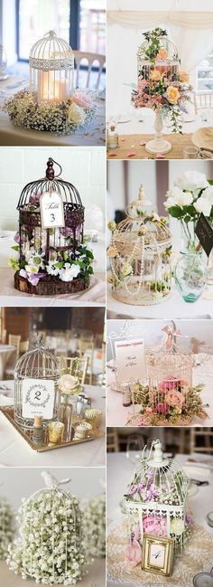 birdcage inspired vintage wedding centerpiece ideas #beautifulflowersvintage #weddinghacks