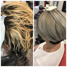 + + - B Mallozzi Hairstyles Haircuts, Pretty Hairstyles, White Hair Toner, Before And After Haircut, Hair Color Formulas, Ice Blonde, Hair Upstyles, Hair Color Techniques, Haircut And Color