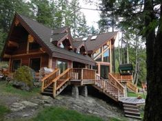 Lakeside Log Cabin In The Woods #LogHomePlans