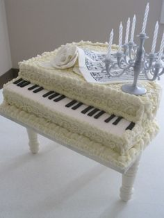 White Piano Cake with Candelabra ... For your next piano recital celebration.