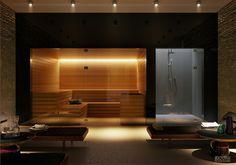 Indoor spa off of indoor pool Infrarot Sauna, Sauna House, Home Spa Room, Spa Rooms, Sauna Steam Room, Sauna Room, Home Building Design, House Design, Sauna Shower