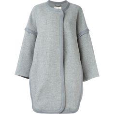 Chloé contrast trim coat (18 320 SEK) ❤ liked on Polyvore featuring outerwear, coats, grey, gray coat, long sleeve coat, chloe coat, grey oversized coat and collarless coat