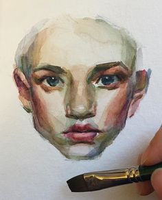 Drawing faces watercolor watercolour Ideas for 2019 Watercolor Face, Watercolor Portraits, Watercolor Illustration, Watercolour Drawings, Art Drawings, Drawing Faces, Guache, Art Sketchbook, Portrait Art